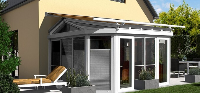 Awning on conservatory roof